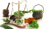 Pharmacists scale with mortars, Apothecary bottle and fresh herbs